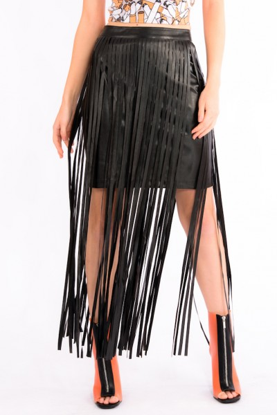 Leatherette Fringe Skirt